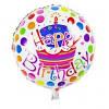 Фольгированный шар наполненный гелием Happy Birthday Белая с тортом