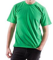 Мужская футболка спортивная летняя больших размеров  зеленая без рисунка прямая трикотажная хб (Украина)