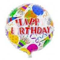 Фольгированный шар наполненный гелием Happy Birthday Шарики Дудочки