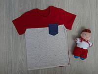 "Трикотажная футболка ""Карман"" для мальчика красная р.104-128"