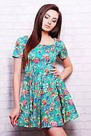 Платье Милава 2 к/р зеленое с цветочным принтом мини из стрейчевого хлопка приталенное с с юбкой клёш