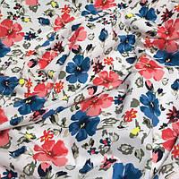 Ткань хлопковая Mist китайская  роза красного и синего цвета №078