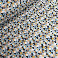 Хлопковая ткань с треугольниками серо-горчичного цвета 1см  №079