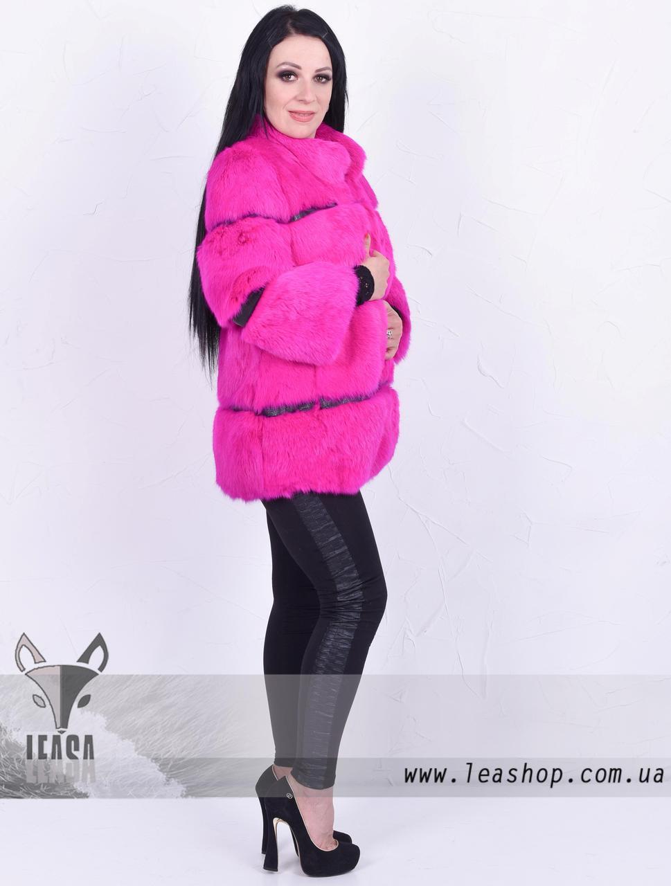 Розовый полушубок из кролика