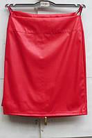 Юбка женская прямая из эко кожи (красный)