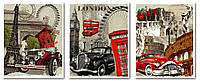 Картины по номерам 50х120 см. Триптих Париж, Лондон, Рим