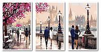 Картины по номерам 50х90 см. Триптих Цветущая набережная