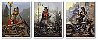 Раскраски по номерам 50х120 см. Триптих Мото-Леди