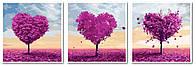 Картины по номерам 50х150 см. Триптих Три сердца