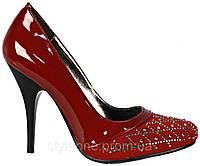 Туфли женские красные. На шпильке. Стразы. Эко-кожа