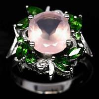 Кольцо с розовым кварцем и хромдиопсидом Размер 18.5