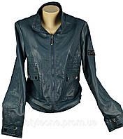 Куртка женская демисезонная бирюзовая. С рисунком птицы на спине. Эко-кожа