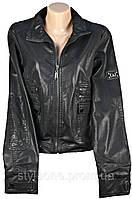 Куртка женская демисезонная черная.С рисунком птицы на спине. Эко-кожа