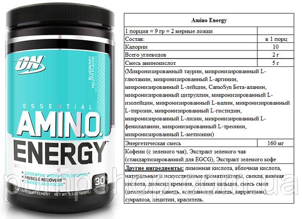Аминокислоты Optimum Nutrition Amino Energy 30 порц. (уценка), фото 2
