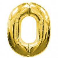 Шар фольгированный Цифра 0 Золото 100 см наполненный гелием