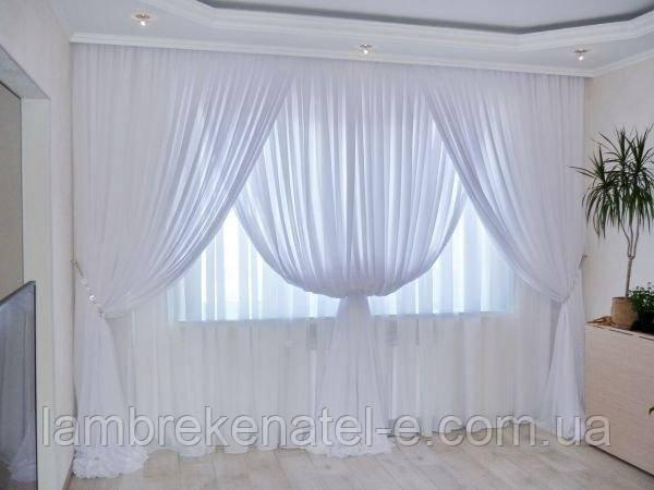 Шифон белый на окно в зал