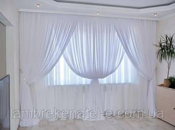 Шифон на метраж белый на окно в зал