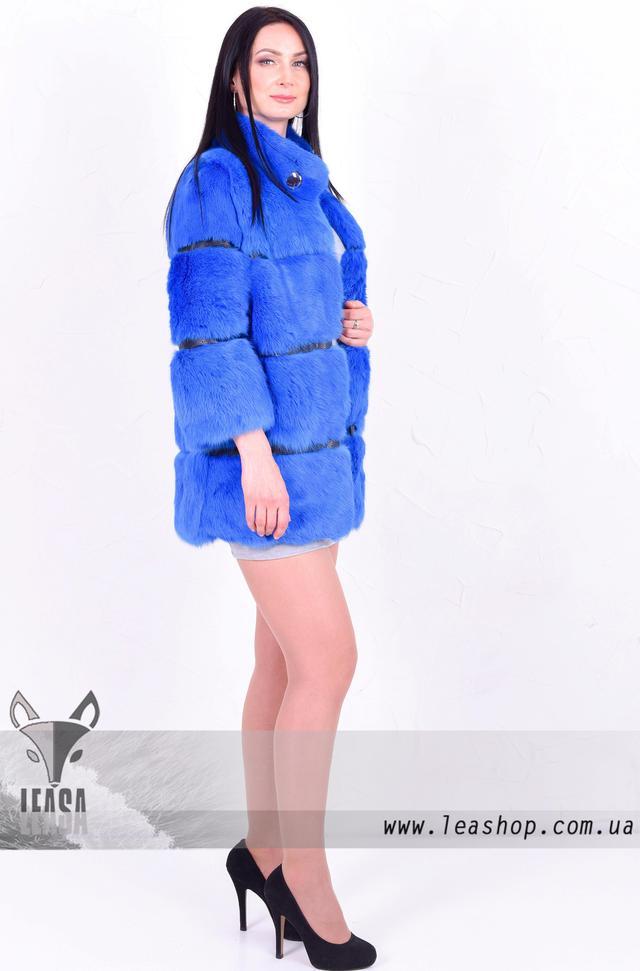 Голубая шубка из кролика, натуральный мех