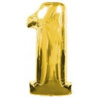 Шар фольгированный Цифра 1 Золото 100 см наполненный гелием