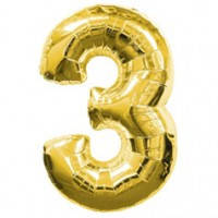 Шар фольгированный Цифра 3 Золото 100 см наполненный гелием