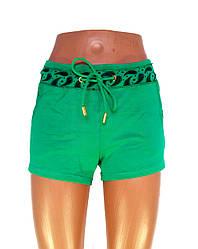 Трикотажные женские шорты зеленые