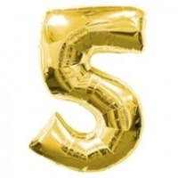 Шар фольгированный Цифра 5 Золото 100 см наполненный гелием