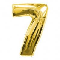 Шар фольгированный Цифра 7 Золото 100 см наполненный гелием