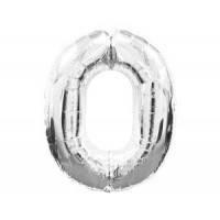 Шар фольгированный Цифра 0 Серебро 100 см наполненный гелием