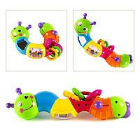Веселая гусеница Limo Toy , подвижные детали, погремушка, трещотка, зеркало, в кор-ке!Опт