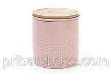 Банка фарфоровая с бамбуковой крышкой 1л, цвет - розовый с золотом