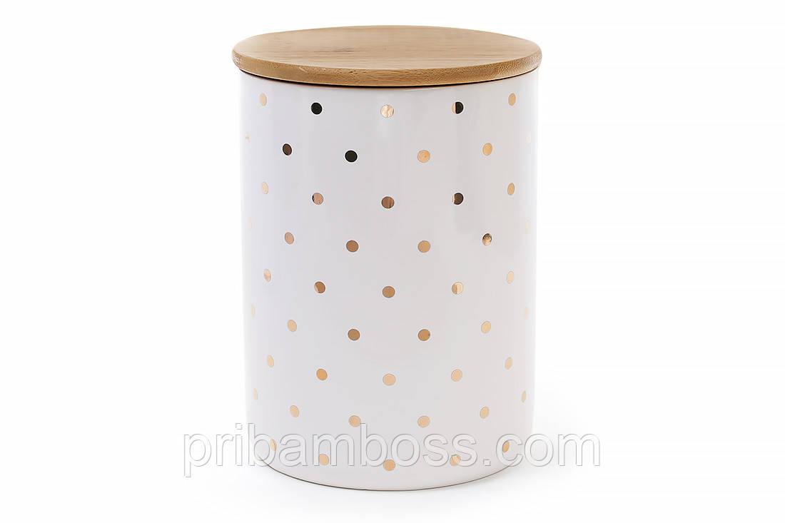 Банка фарфоровая с бамбуковой крышкой Горошек, цвет - белый с золотом