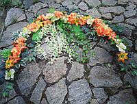 Украшение на арку в оранжевом цвете(орхидеи,гортензии,лилии)