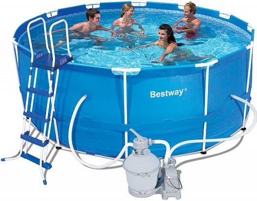 Каркасный круглый бассейн BestWay 56259 (366*122 см) с песочным фильтром