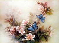 Набор алмазной вышивки Цветочная композиция с бабочками KLN 30 х 40 см (арт. FS041) , фото 1