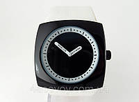Часы унисекс Alberto Kavalli в стиле  ISSEY MIYAKE черный корпус белый ремешок, фото 1