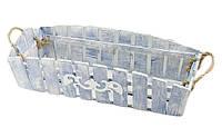 Деревянное кашпо, синее с белым (60х16)