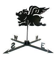 Кованый флюгер Свинья с крыльями ФЛ1
