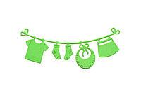 Детская одежда на веревке зеленая,12шт