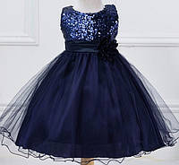 Нарядное платье  с паетками темно-синее для девочки на 1 - 1,5 года
