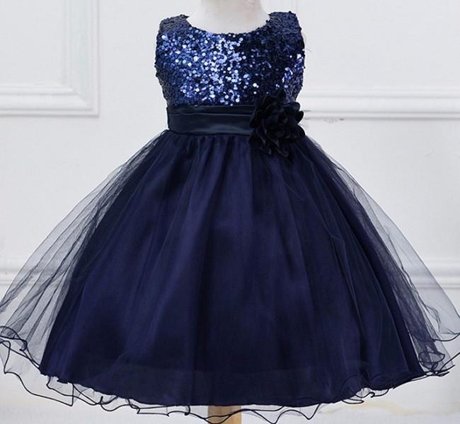 91308f8d7c5 Нарядное платье с паетками темно-синее для девочки - Интернет-магазин