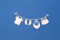 Детская одежда на веревке белая перламутровая,3шт