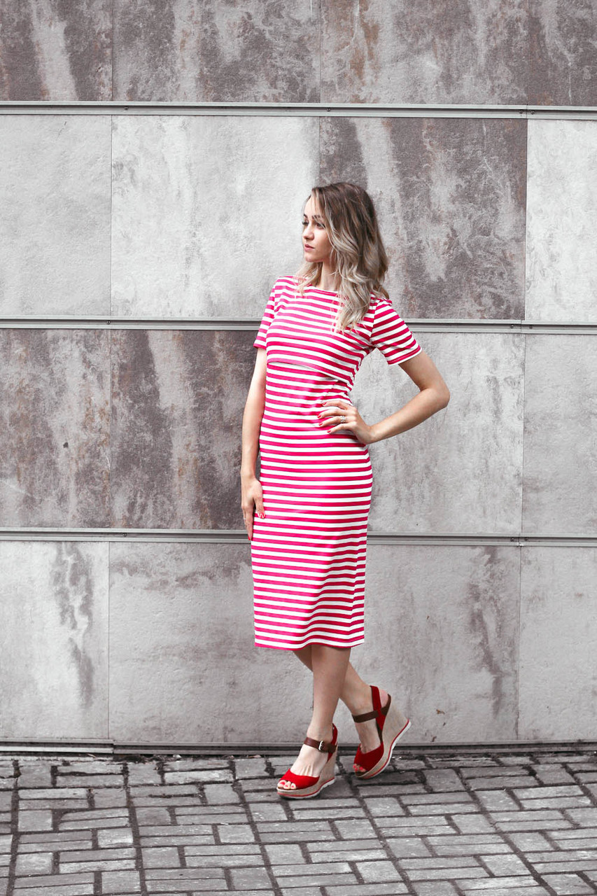 Платье в полоску для кормящих мам, малиновое за 580 грн. в интернет ... 8c6f3c81b2a