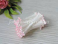 Тайские тычинки белые каплевидные с розовым кончиком