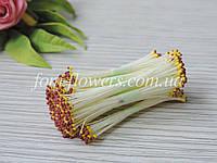 Тайские тычинки коричнево-желтые на белой нитке, фото 1