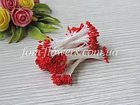 Тайские тычинки красные, каплевидные на белой нитке, фото 1