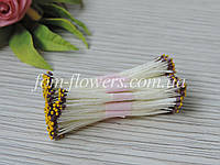 Тайские тычинки коричневые с желтым кончиком на белой нитке, фото 1