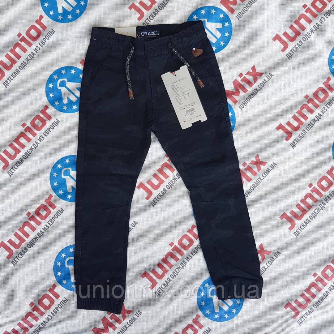 Оптом детские котоновые брюки на манжете для мальчика GRACE