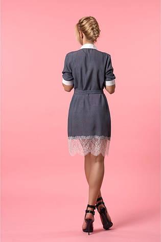 Летнее женское платье - рубашка прямого покроя с поясом , фото 2