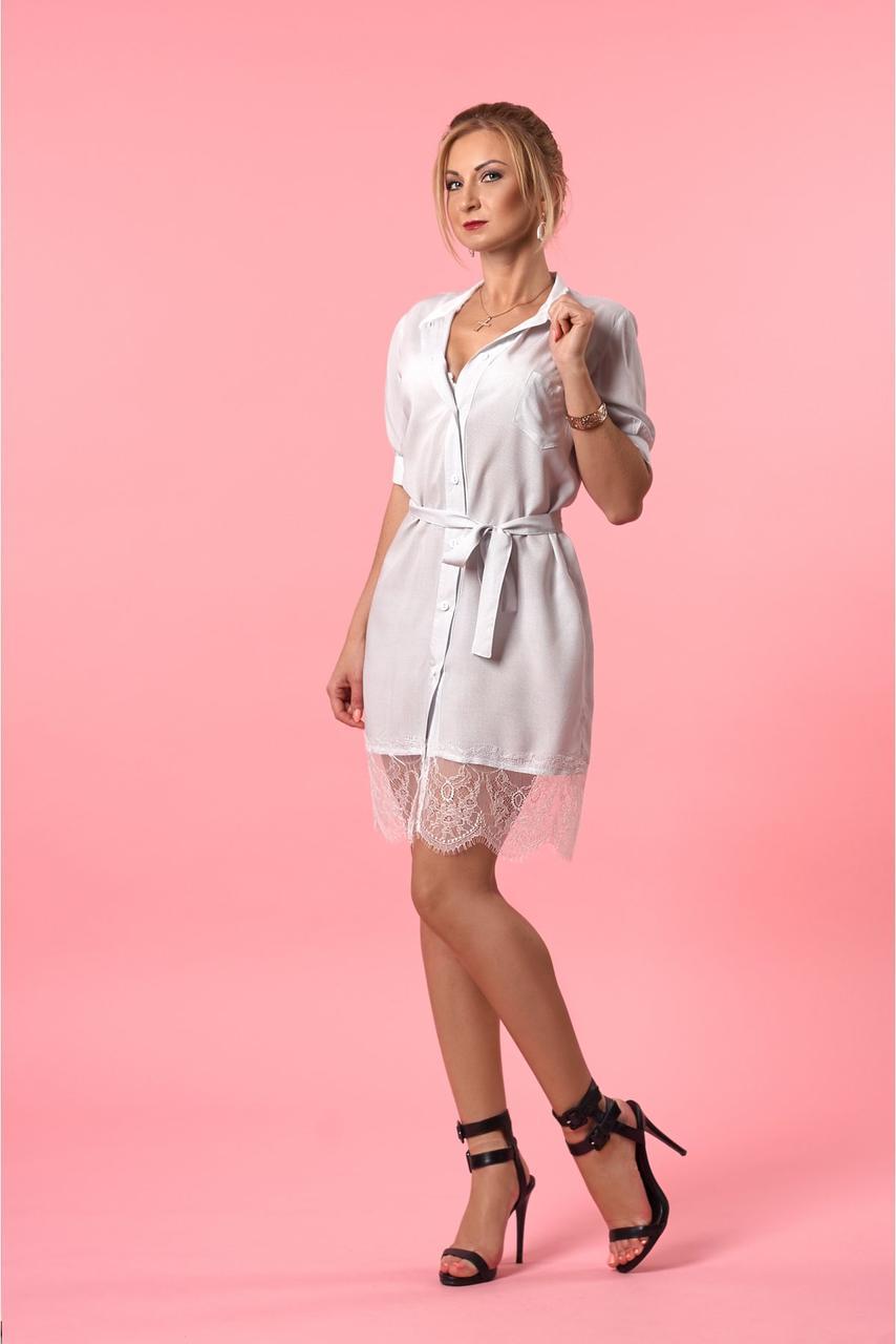 Летнее женское платье - рубашка прямого покроя с поясом