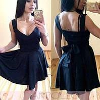 Коктейльное мини платье пышное с открытым декольте и бантом на спинке. Разные цвета и размеры. Розница, опт.
